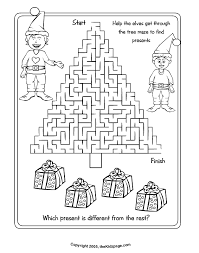 christmas tree maze free coloring pages kids printable