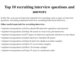 top 10 recruiting interview questions and answers