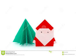 paper craft santa claus and christmas tree stock photo image