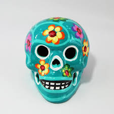 small handcrafted ceramic sugar skull turquoise artradition
