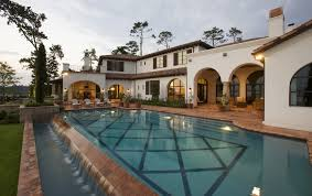 Pool And Patio Decor Austin Spanish Tile Roof Pool Mediterranean With Archway Outdoor