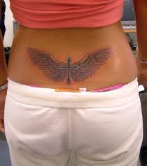 cross with wings tattoogirl painting
