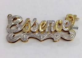 name plated earrings 14k gp silver 3 d name necklace free chain personalized style 7