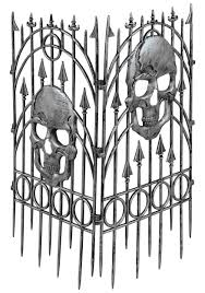 cemetery fence halloween prop silver skull fence