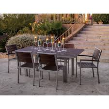 7 Piece Aluminum Patio Dining Set - polywood euro textured black 7 piece patio dining set with sand