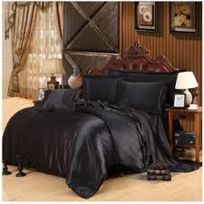silk satin bedding set california king size queen full twin black