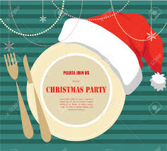 christmas party invitation plate with christmas hat royalty free