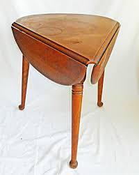 ethan allen vintage table cloverleaf drop leaf corner triangle