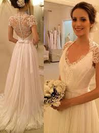 buy gorgeous a line v neck cap sleeves lace chiffon wedding dress