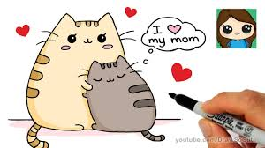 how to draw mother u0027s day pusheen cat easy youtube