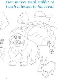 lion and rabbit walk coloring page for kids