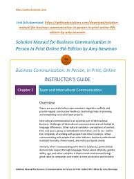 download solution manual for business communication in person in