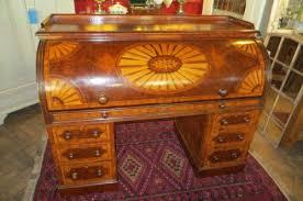 Antique Roll Top Desk by Decorative Victorian Inlaid Burr Walnut Cylinder Roll Top Desk