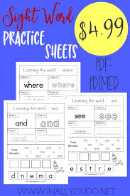 pre primer sight words worksheets