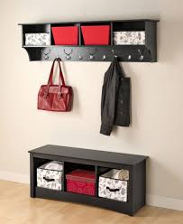 decor wooden entryway shelf with hooks with storage bench
