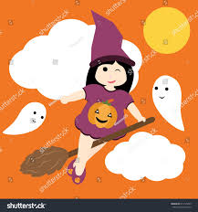 vector cartoon witch fly on stock vector 615125435 shutterstock