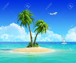 clean sand on tropical island with palm tree also with