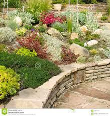 Rock Garden Wall Colorful Rock Garden With Wall Stock Image Image Of Sedum
