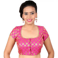 pretty blouses pretty pink blouse with gold work in a square neck in brocade