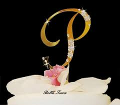 w cake topper gold wedding monogram cake topper w swarovski flowers
