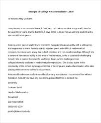 college recommendation letter editable college recommendation
