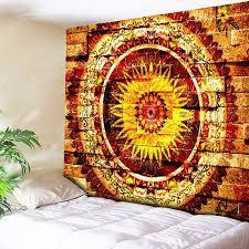 2018 mandala brick wall printed bedroom tapestry yellow w inch l