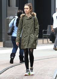 black friday winter jackets lily collins bundles up her slim figure in a winter coat lily