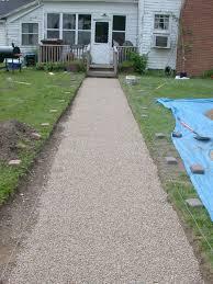 Pea Gravel Front Yard - 2004 brick walkway