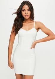 white dresses bandage dresses variety of colors available missguided