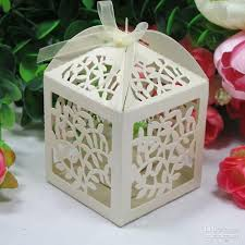 wedding favor 2018 laser cut favor candy gift boxes with ribbon for wedding