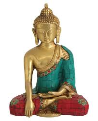 statue with medicine buddha statue in brass with mosaic detailing