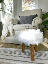 cool thrift store faux fur stool