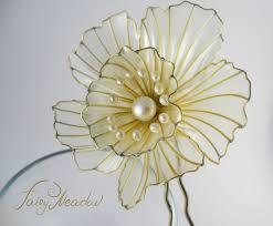 kanzashi hair pin big pearl narcissus resin flower hair stick japanese kanzashi pin