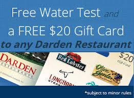 darden restaurants gift cards free water test