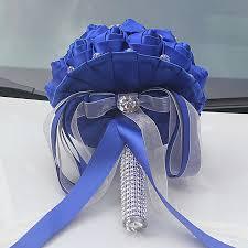 royal blue ribbon luxury royal blue ribbon tassel diamond wedding bridal bouquets