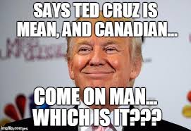 Cruz Meme - says ted cruz is mean and canadian come on man which is it