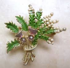 lucky heather and thistle flower scottish style brooch by exquisite