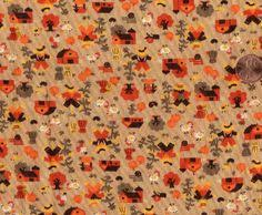 autumn fall fabric panel thanksgiving pumpkin maple leaf hill