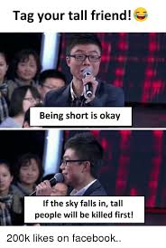 Okay Meme Facebook - tag your tall friend being short is okay if the sky falls in tall