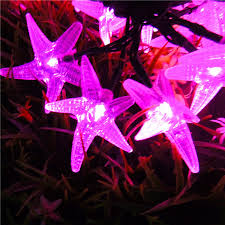 New Year Outdoor Decoration by 12v Solar Starfish String Lights Christmas New Year Outdoor
