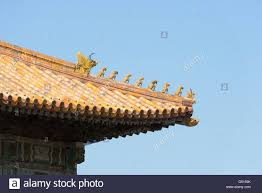 china beijing up of a roof ornament in the forbidden city