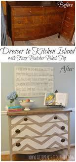 kitchen island buffet repurposed dresser to chevron kitchen buffet with butcher block top