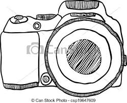 vector clipart of the sketch of a photo camera drawn by hand on a
