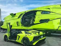 neon green lamborghini aventador aventador sv and matching speedboat on sale for 2 2m