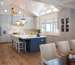 different colored island kitchen beach style with blue gray