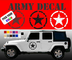 jeep army decals 2 jeep wrangler oscar mike us army willys star broken pick color