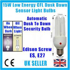 light bulbs with sensors low energy 3x 15w low energy cfl dusk dawn sensor photocell light bulb es e27
