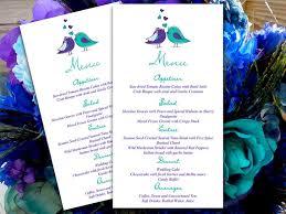 Regency Wedding Invitations Love Bird Wedding Menu Card Microsoft Word Template Regency