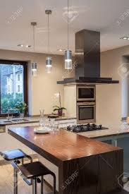 a modern kitchen travertine house close up of a modern kitchen interior stock