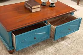 Two Drawer Coffee Table Two Drawer Coffee Table Blue Color Vintage Coffee Table With Two
